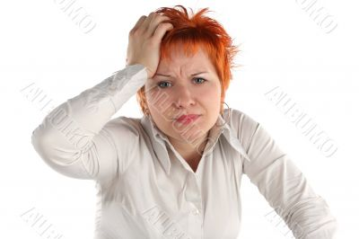 anxious business woman isolaited on white background