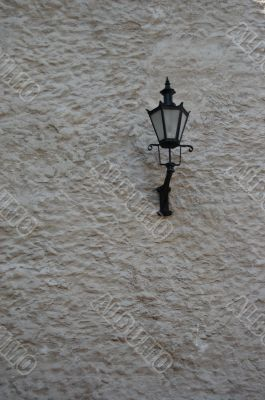 Wall with lantern