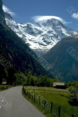 Swiss Alps and the road