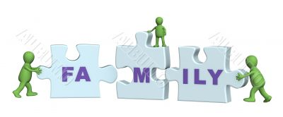 Conceptual image - family making a puzzle
