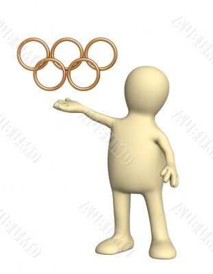 3d puppet holding gold Olympic symbol