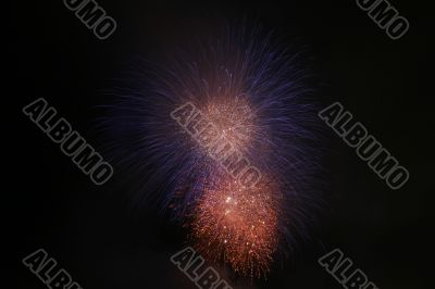 silky blue and fiery orange fireworks