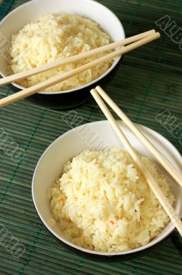 Two bowls of healthy organic rice