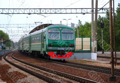 Passenger electric train has arrived on railway station