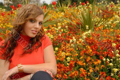 girl in red in beautiful gardens