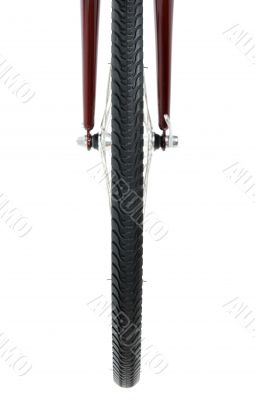 Tyre of bicycle wheel, front view