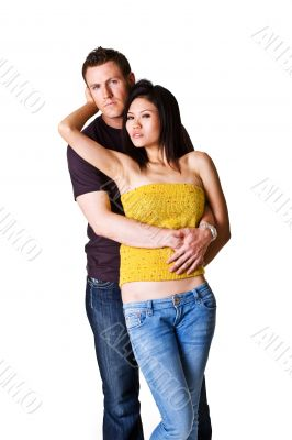 Young romantic couple in denim