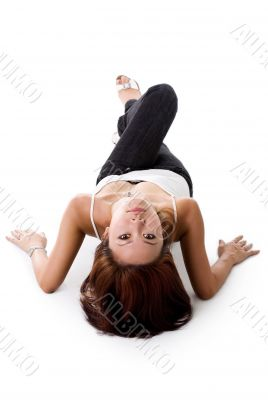 elegance woman lying on the floor
