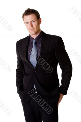 smilling caucasian man in formal business suit