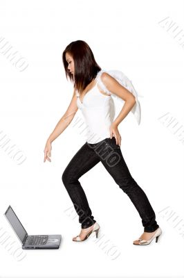 woman angel pointing at the laptop