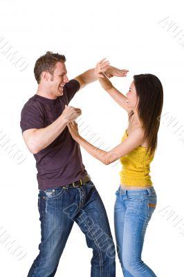 cute romantic couple in fun mood