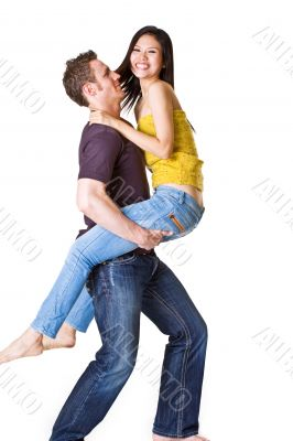 young romantic couple in playful mood.