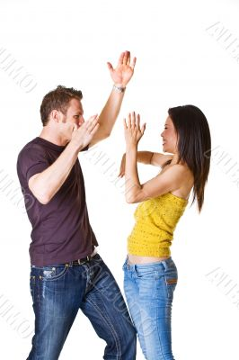 young couple in playful action