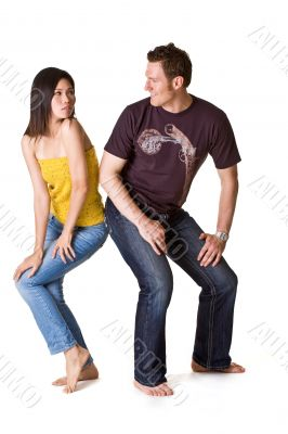 guy and girl friends having fun hips banging
