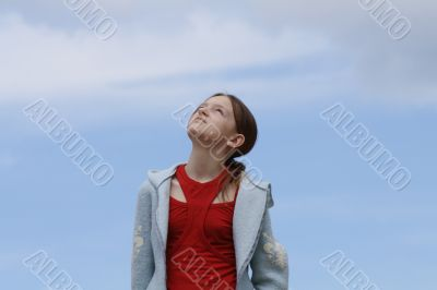 Young girl and sky