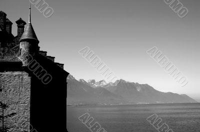 Switzerland Castle with Lake Geneva