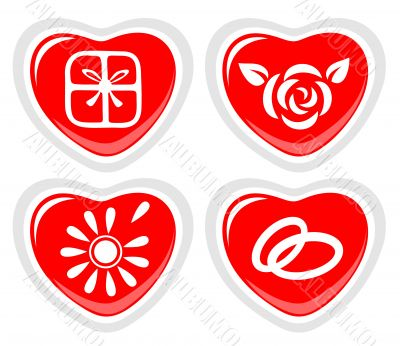 four heart icons
