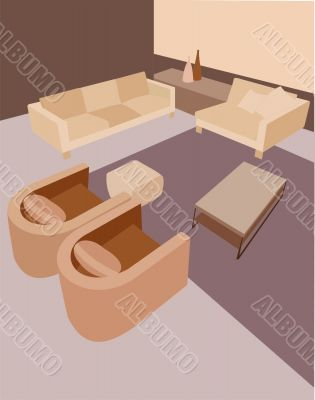 an interior is in brown tones