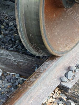 Railroad Car Wheel and Track