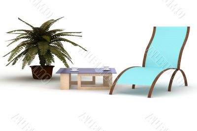 deckchairs on a white background. 3D image.