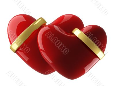 Two heart with wedding rings on a white background. 3D image.