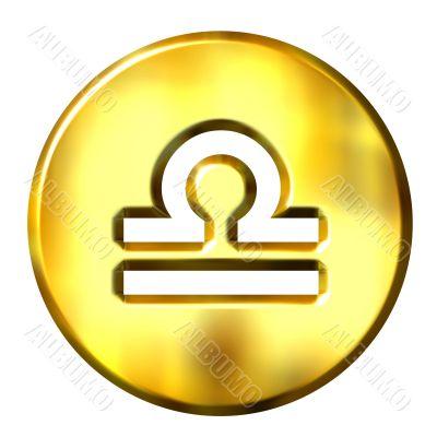 3D Golden Libra Zodiac Sign