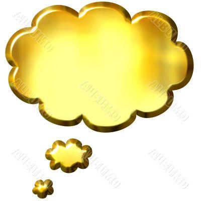 3D Golden Thought Bubble