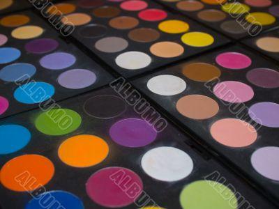 Rich makeup palette. Shallow DOF