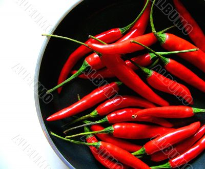 Pan of red chili peppers