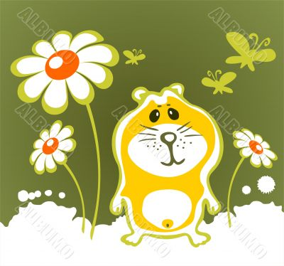 hamster and flowers