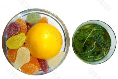 herbal  mint tea and  fruit candy