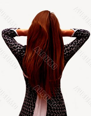 Girl with long hairs stands back