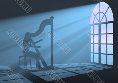 Harp woman