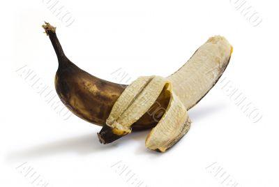 Peeled rotten banana