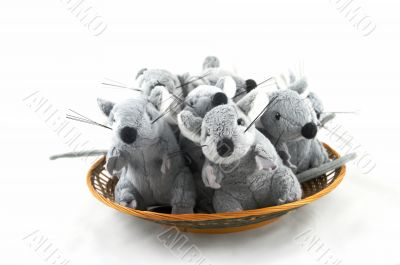 Colony of grey toy mice