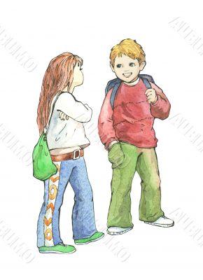 schoolboy and schoolgirl.