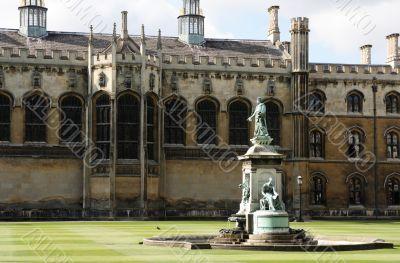 Fountain in King`s College, Cambridge.