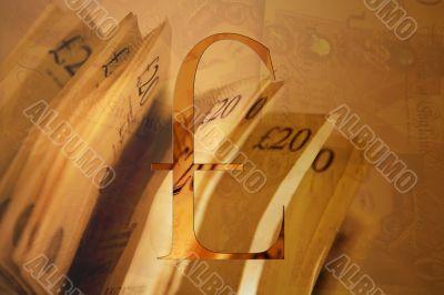 Twenty Pound Notes And Pound Sign