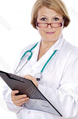 Female doctor  senior writing