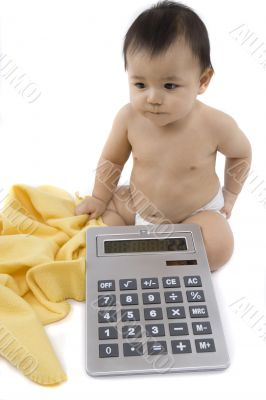 Sweet baby with calculator