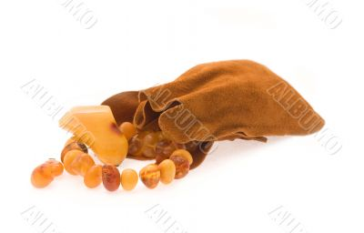 Adornment from amber in a sack