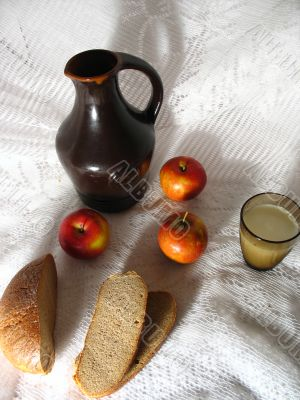 Brown Bread, Jug and Glass of Milk