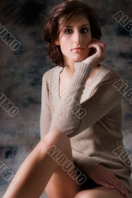 tall brunette in sweater only