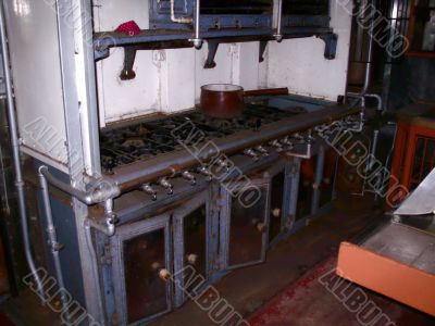 Old galley kitchen from railway transport