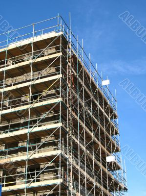 Construction site and scaffolding