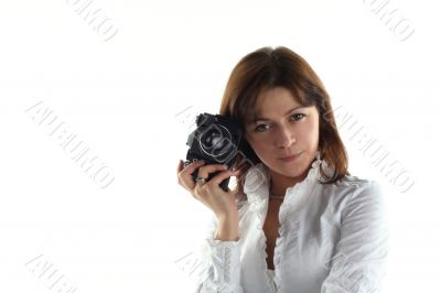 young woman with old camera isolated on white background