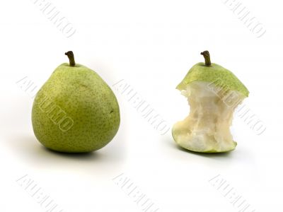 green full pear and its bite