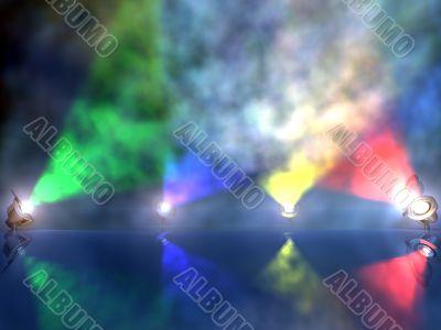 varicolored working spotlights