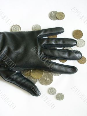 A hand with coins