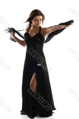 Girl in black dress with scarf isolated on white background